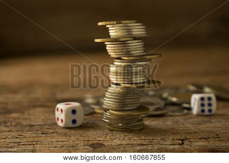 strack of coins make to differrent position concept idea for business and financial