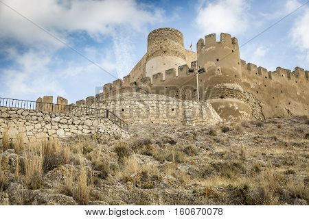 castle in Biar medieval town, province of Alicante, Spain