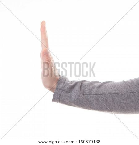 Male hand stop sign isolted on white background