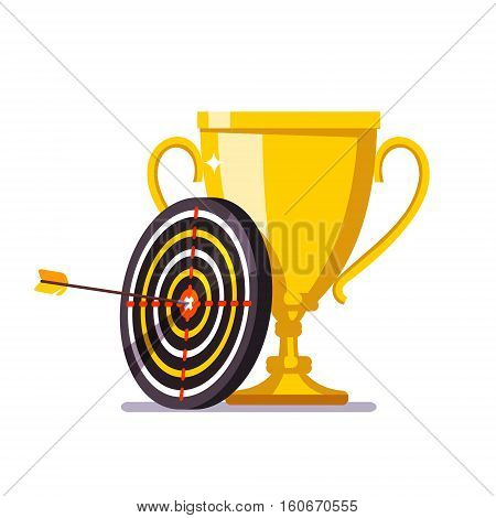 Golden cup trophy with arrow hitting in the target center. Achievement metaphor. Flat style vector illustration.