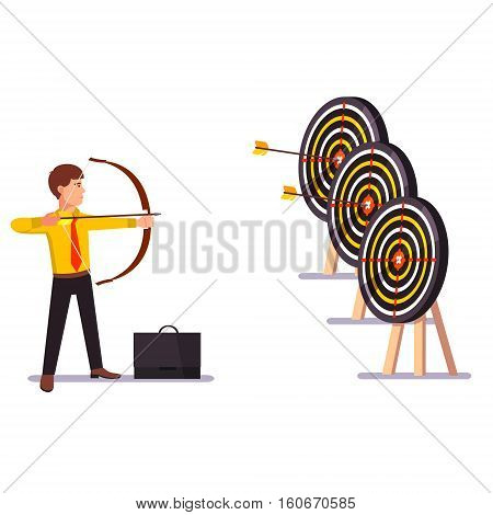 Businessman doing a perfect hit arrow target practice. Flat style vector illustration.