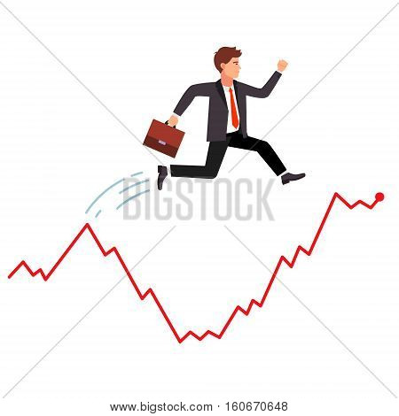Smart and agile businessman jumping over falling market crisis. Hopping over falling stock graph curve. Flat style vector illustration.