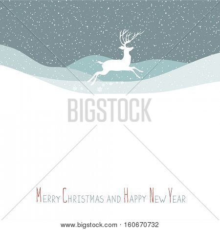 Merry Christmas postcard. Christmas deer. Calm winter scene. Vector background with white tree silhouettes under snowfall. Calm winter forest. Snowfall