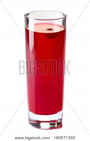 Glass of cranberry fruit drink isolated on white background
