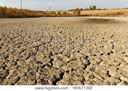 Arid dried and cracked soil of pond bottom on the background autumn fields bushes and trees