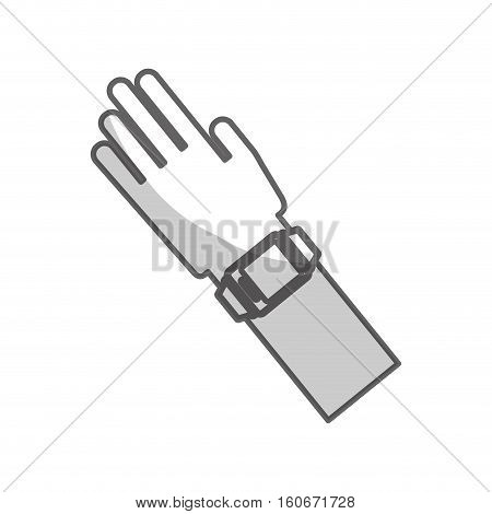 hand with smart watch icon over white background. wearable technology device design. vector illustration