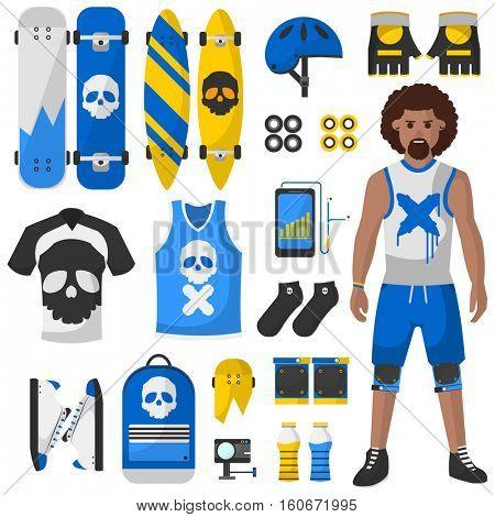 Skateboard equipment vector set. Roller skating and skateboarding protective gear.