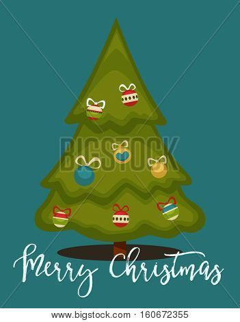 Merry Christmas greeting card. Winter holiday illustration with color ball decoration fir/pine tree  blue background. New Year or xmas symbol. Vector design for december celebration in cartoon style.