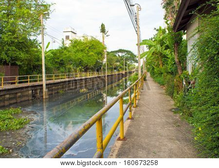 Concrete Walk way along the sewage water canal
