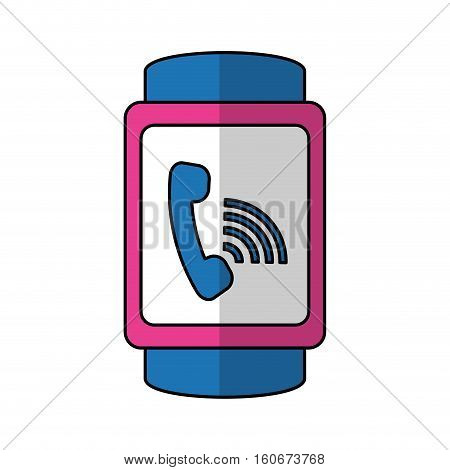 smart watch with on a call icon over white background. wearable technology devices concept. colorful design.  vector illustration