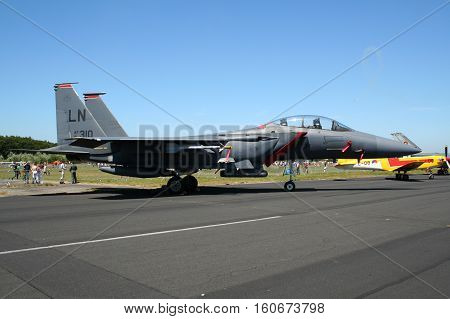 GILZE-RIJEN NETHERLANDS - JUN 18 2005: US Air Force F-15E Strike Eagle fighter jet from RAF Lakenheath on static display during the Royal Netherlands Air Force Open Day.