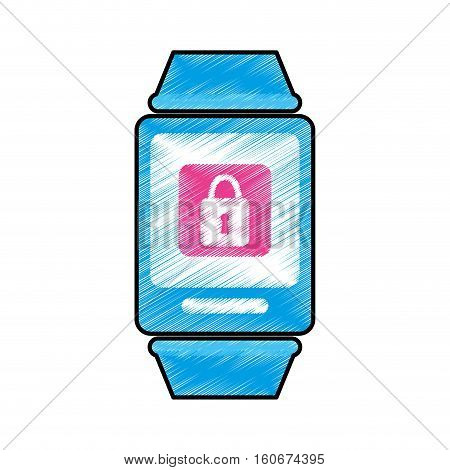 smart watch with padlock icon on screen over white background. wearable technology devices concept. colorful design.  vector illustration