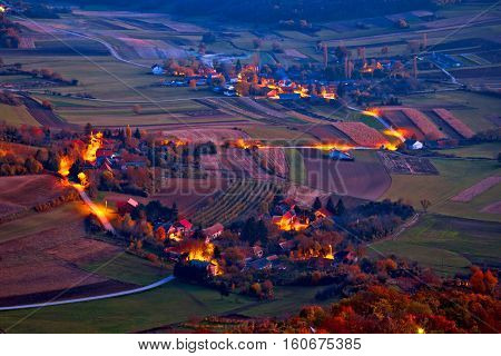 Picturesque Prigorje Village Evening Aerial View