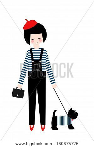 Cute fashion girl with scottish terrier on white background. Vector illustration of girl with dog. Fashion design for poster, card etc.