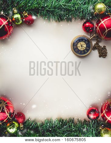 Christmas Green Grass and Pocket Watch on Blank Space of Old Paper with Balls and Gift Boxes with in Vintage Tone