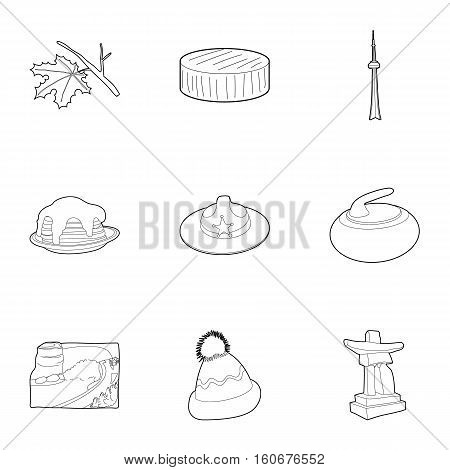 Attractions of Canada icons set. Outline illustration of 9 attractions of Canada vector icons for web