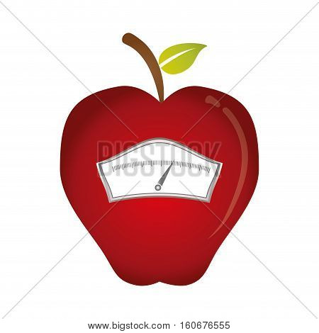 apple shape weight scale icon image vector illustration design
