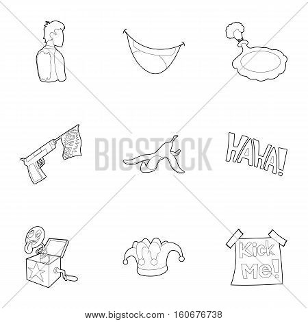 Joke icons set. Outline illustration of 9 joke vector icons for web