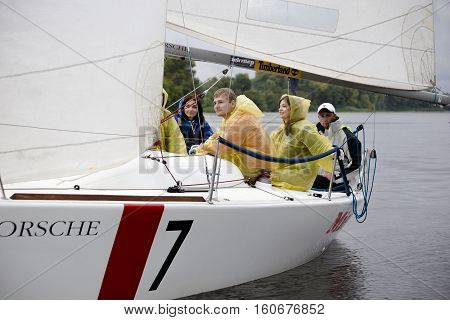 Kyiv Ukraine - August 122016:Sailing school in Kiyv Ukraine - August 2016 - Young people learning to sail in the harbor at Dniper river Ukraine before International Regatta Hetman Cup -ISAF Grade 2- run in Ukraine