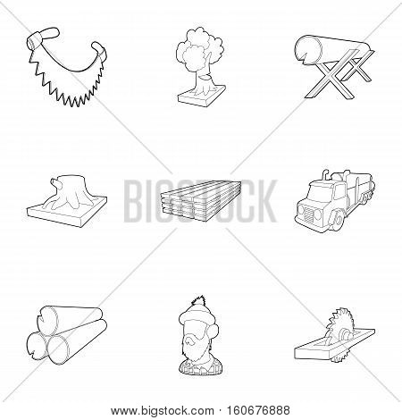 Woodcutter icons set. Outline illustration of 9 woodcutter vector icons for web