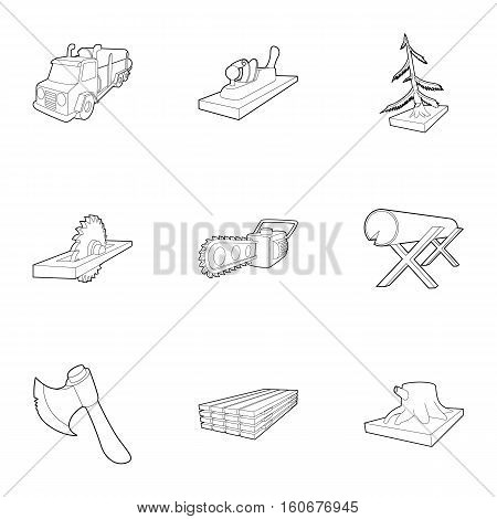 Felling icons set. Outline illustration of 9 felling vector icons for web