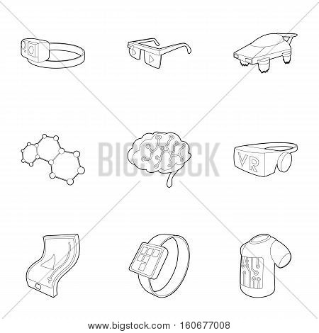Innovative device icons set. Outline illustration of 9 innovative device vector icons for web