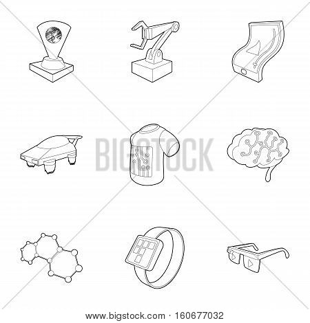 Electronic devices of future icons set. Outline illustration of 9 electronic devices of future vector icons for web