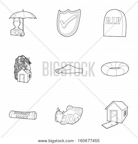 Crash icons set. Outline illustration of 9 crash vector icons for web
