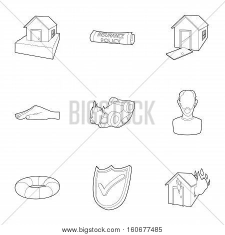Incident icons set. Outline illustration of 9 incident vector icons for web