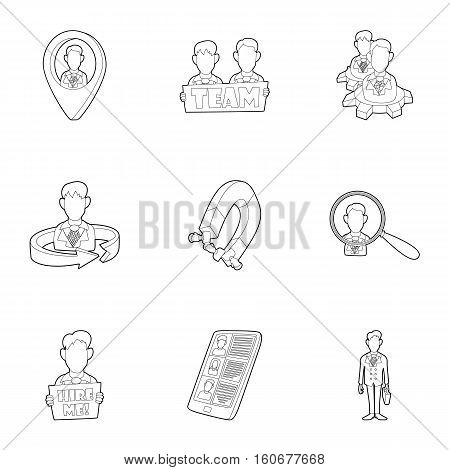Job search icons set. Outline illustration of 9 job search vector icons for web