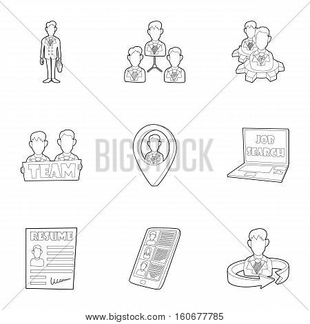 Staffing agency icons set. Outline illustration of 9 staffing agency vector icons for web