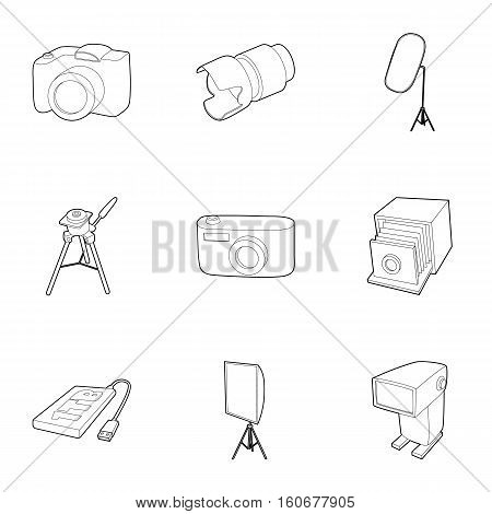 Photo shooting icons set. Outline illustration of 9 photo shooting vector icons for web
