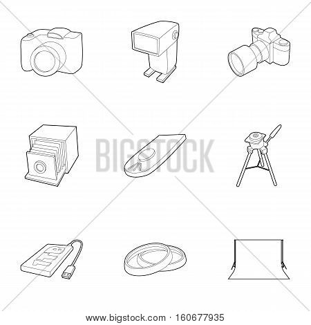 Photographing icons set. Outline illustration of 9 photographing vector icons for web