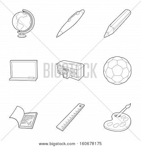 Education icons set. Outline illustration of 9 education vector icons for web