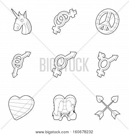 LGBT community icons set. Outline illustration of 9 LGBT community vector icon for web