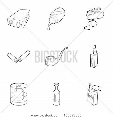 Tobacco icons set. Outline illustration of 9 tobacco vector icons for web
