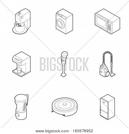 Kitchen gadgets icons set. Outline illustration of 9 kitchen gadgets vector icons for web