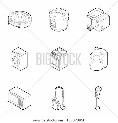 Electronic kitchen equipment icons set. Outline illustration of 9 electronic kitchen equipment vector icons for web