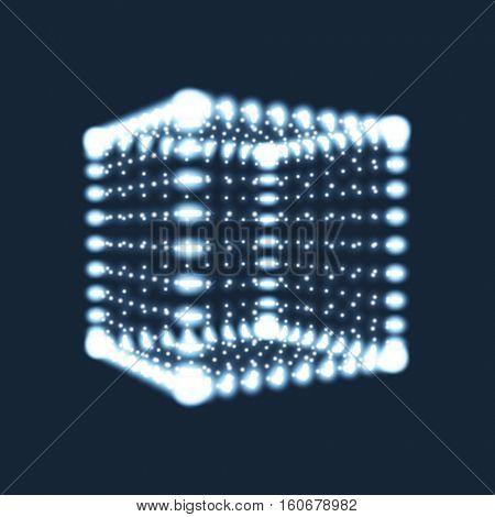 Cube. The Cube Consisting of Points. 3d Glowing Grid. Technology Style. Molecular lattice. Network Design. Vector Illustration.
