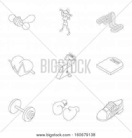 Active fitness icons set. Outline illustration of 9 active fitness vector icons for web