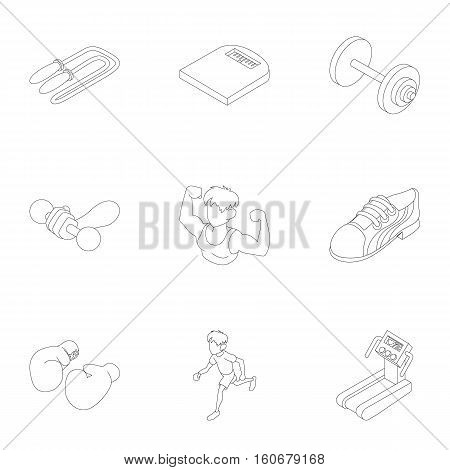 Active sports icons set. Outline illustration of 9 active sports vector icons for web