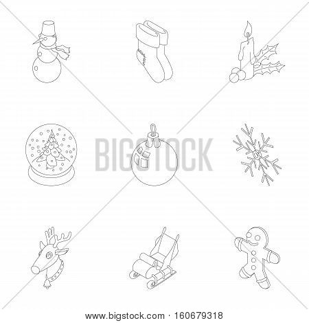 New year holiday icons set. Outline illustration of 9 new year holiday vector icons for web