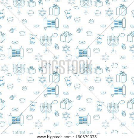 Vector Happy Hanukkah Holiday Seamless Pattern Background. Jewish Colorful White Illustration.
