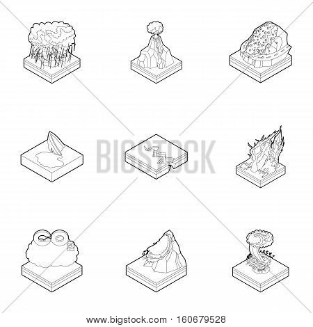 Natural occurrence icons set. Outline illustration of 9 natural occurrence vector icons for web