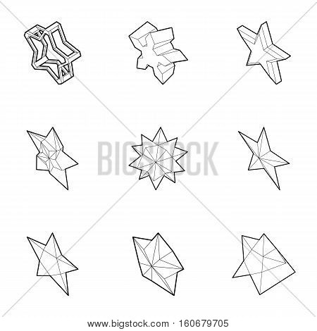 Kind of stars icons set. Outline illustration of 9 kind of stars vector icons for web