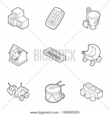 Toys for kids icons set. Outline illustration of 9 toys for kids vector icons for web