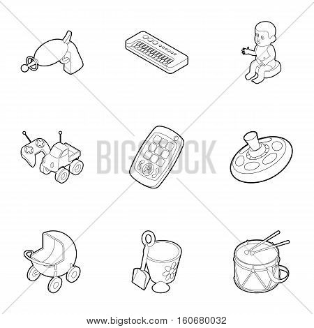 Kind of toys icons set. Outline illustration of 9 kind of toys vector icons for web