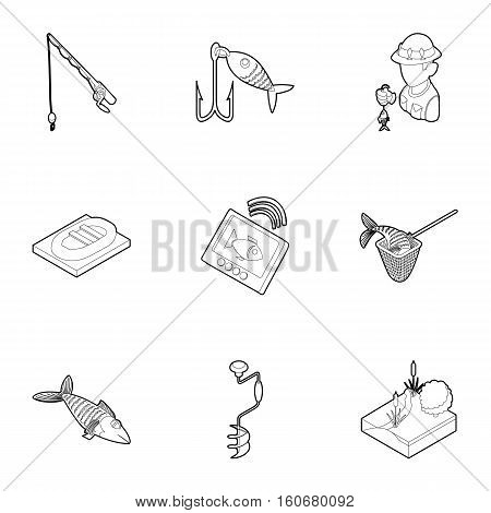 Fishing on river icons set. Outline illustration of 9 fishing on river vector icons for web
