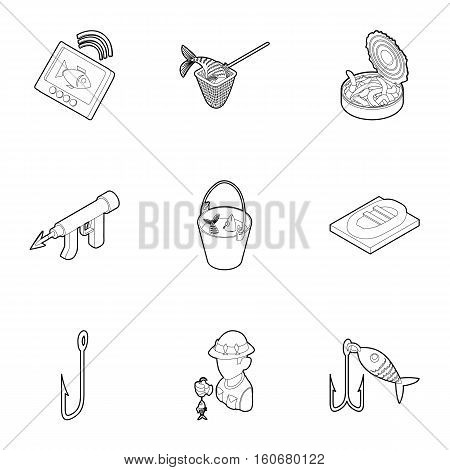 Fish catch icons set. Outline illustration of 9 fish catch vector icons for web