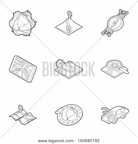 GPS icons set. Outline illustration of 9 gps vector icons for web